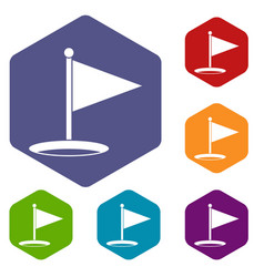 Golf flag icons set hexagon vector