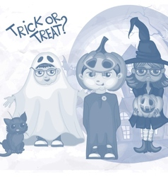 Halloween children trick or treating vector