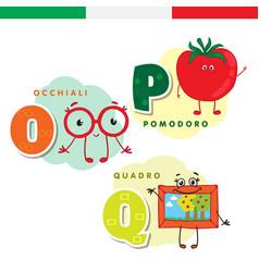 Italian alphabet glasses tomato picture vector