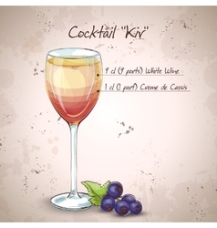 Kir alcohol cocktail vector image