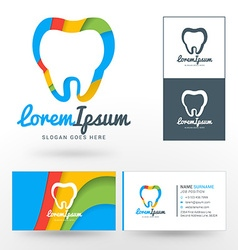 Logo Template Silhouettes of Tooth with Abstract vector image