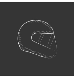 Motorcycle helmet drawn in chalk icon vector