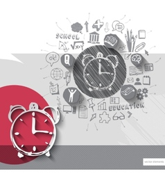 Paper and hand drawn alarm clock emblem with icons vector
