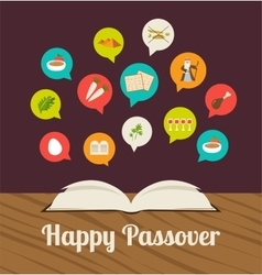 passover hagadah with traditional icons vector image vector image