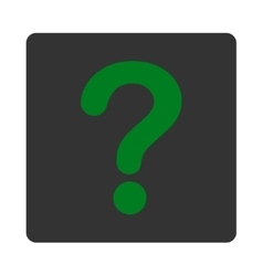 Question flat green and gray colors rounded button vector
