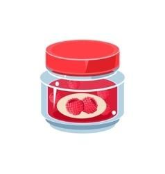 Raspberry Jam In Transparent Jar vector image