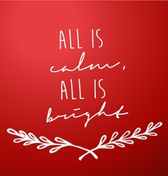 Red background with christmas wishes - all is calm vector