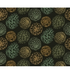 Seamless pattern with hand drawn pine cones vector image vector image