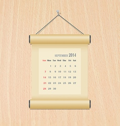 September2014 calendar on wood wall vector