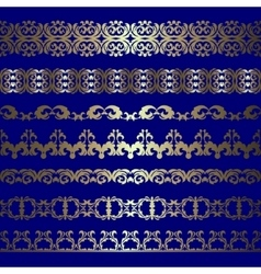 set of gold borders vector image