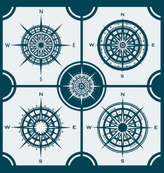 set of isolated compass roses or wind roses vector image vector image