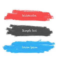 set of three watercolor stroke banner design vector image
