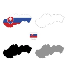 Slovakia country black silhouette and with flag on vector