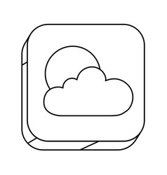 square silhouette button with contour of cloud vector image vector image