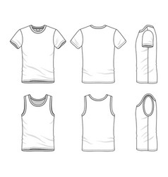 templates of t-shirt and vest vector image