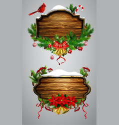 wooden christmas board vector image