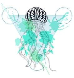 Zentangle stylized jellyfish in triangle frame vector