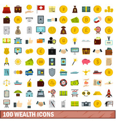 100 wealth icons set flat style vector