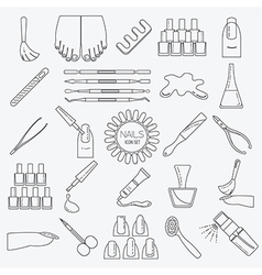 Manicure nail salon icon set thin line design vector