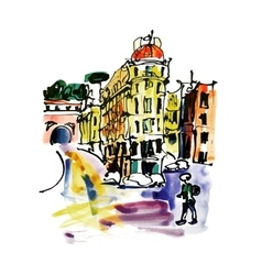 Original watercolor sketch hand drawing of rome vector
