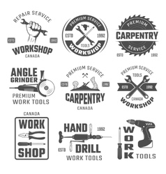 Work tools black white emblems vector