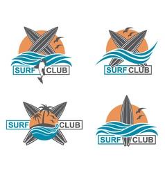 Set of surfing emblems vector