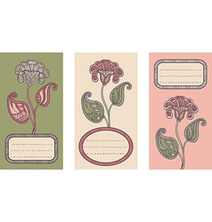 Set of floral card templates vector image