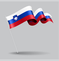 Slovenian pin wavy flag vector