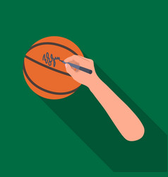 Autograph on a basket ballbasketball single icon vector