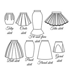 styles of skirts outline vector image