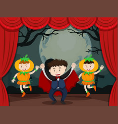 Vampire and pumpkin on stage vector