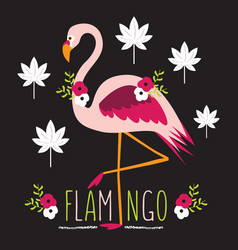 Colorful exotic flamingo with flowers and leaves vector