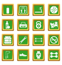 gym icons set green vector image