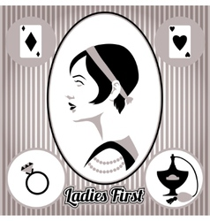 Retro lady face and accessories isolated vector