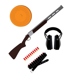 Skeet rifle headphones for shooting buckshot and vector image