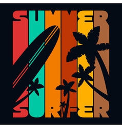 Summer surfer t-shirt typography graphics vector