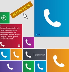 Phone support call center icon sign metro style vector