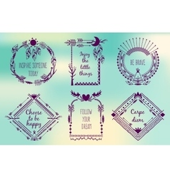Hand drawn boho style frames with place for your vector