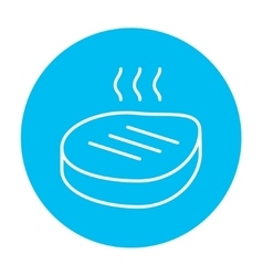 Grilled steak line icon vector