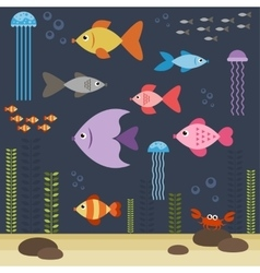 Underwater world with fishes vector