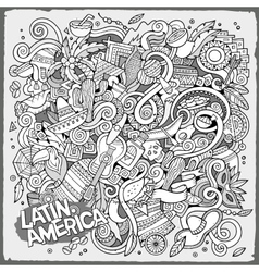 Cartoon hand-drawn doodles latin american vector