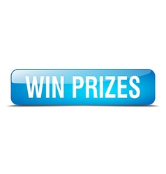 Win prizes blue square 3d realistic isolated web vector