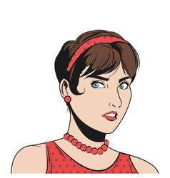 woman with hair up and red accesories vector image