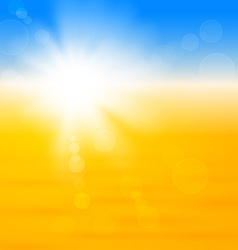 Background with shiny sun over the sand vector image vector image