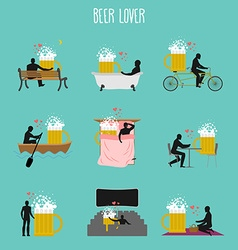 beer lover set Love of Beer mug collection Man and vector image vector image