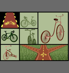 Bicycles and roads set vector