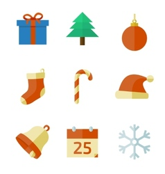 Christmas icons in flat style vector image vector image
