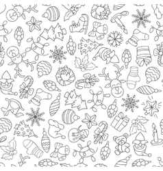 Christmas seamless pattern with different icons vector