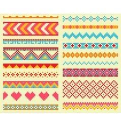Collection of bright pixel brushes in tribal style vector image