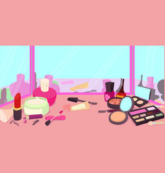 Cosmetics horizontal banner cartoon style vector
